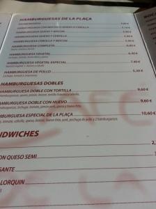 Carta 'Cafè de la Plaça' con falsas hamburguesas vegetales