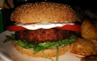 Bocadillo de hamburguesa vegana