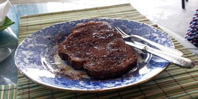 Tostada con cacao y aceite
